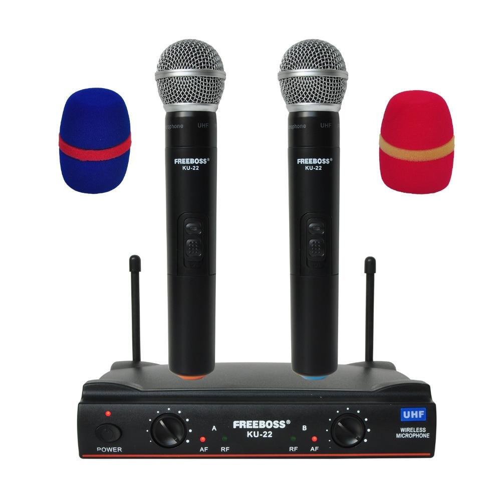 Freeboss KU-22 uhf longo alcance duplo canal 2 handheld microfone transmissor profissional karaoke uhf sistema de microfone sem fio