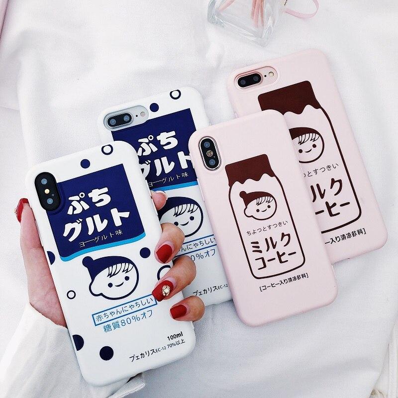 Чехлы для телефонов в японском Корейском стиле с эффектом потертости для iphone XS Max XR, чехол для бутылки молока для iphone X 7 7plus 6 6s 8 Plus, мягкий чехол