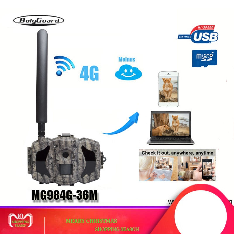 Bolyguard caméra de chasse 4G TrailCamera SMS vision nocturne MMS GPRS noir IR 36MP 1080P HD pièges Photo imageurs thermiques Wildcamera