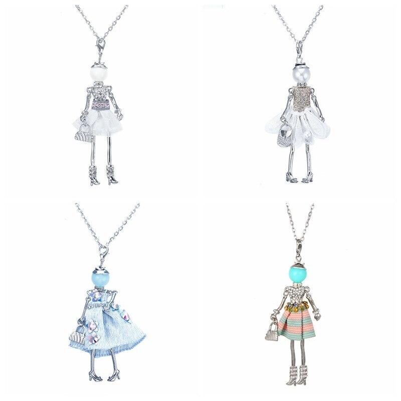 Aktien auf Promotions!! Top-bewertet Schöne Tuch Kleid Puppe Halskette Frauen Schmuck Geschenke Aussagen Bijoux Zubehör Neue 02