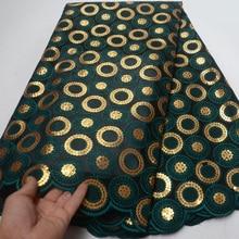 ¡Novedad de 2019! Tela de encaje doble de organza africana en verde oscuro con bordado de lentejuelas doradas para vestido de fiesta OP114 (5 yardas/pc)