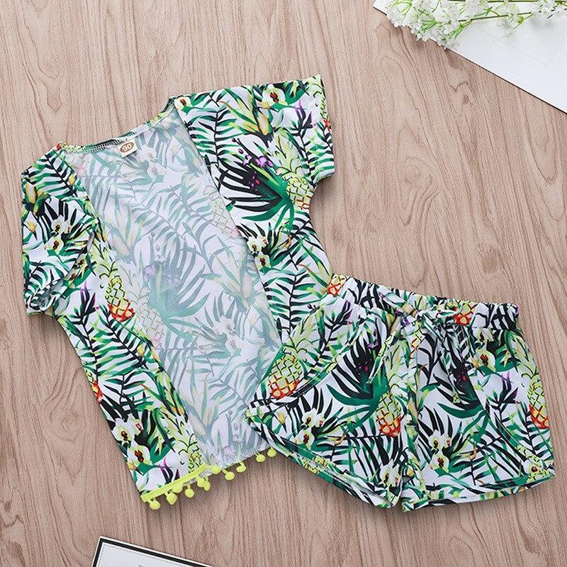 Niño niña ropa de verano ropa de niños niñas bebé fruta kimono borla chal chaqueta Tops pantalones cortos 2PC trajes conjuntos niños 1-4