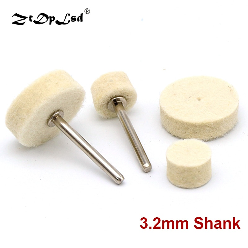 10Pcs Grinding Polishing Buffing Round Wheel Pad Wool Felt +1 Rod 3.2mm Shank Metal Surface For Dremel Rotary Tools Accessories