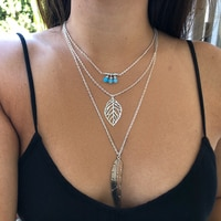 IPARAM 2019 Fashion Women Multilayer Irregular Pendant Chain Silver Color  Feather Necklace
