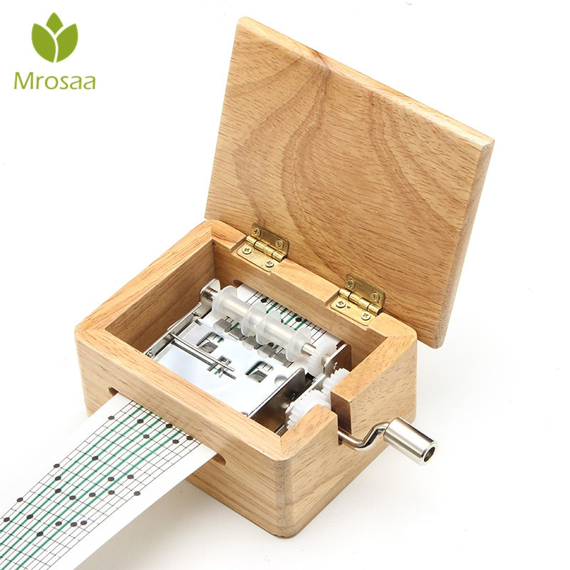 15 Tone DIY Hand-cranked Music Box Wooden Box With Hole Puncher And 10 pcs Paper Tapes Music Movemen