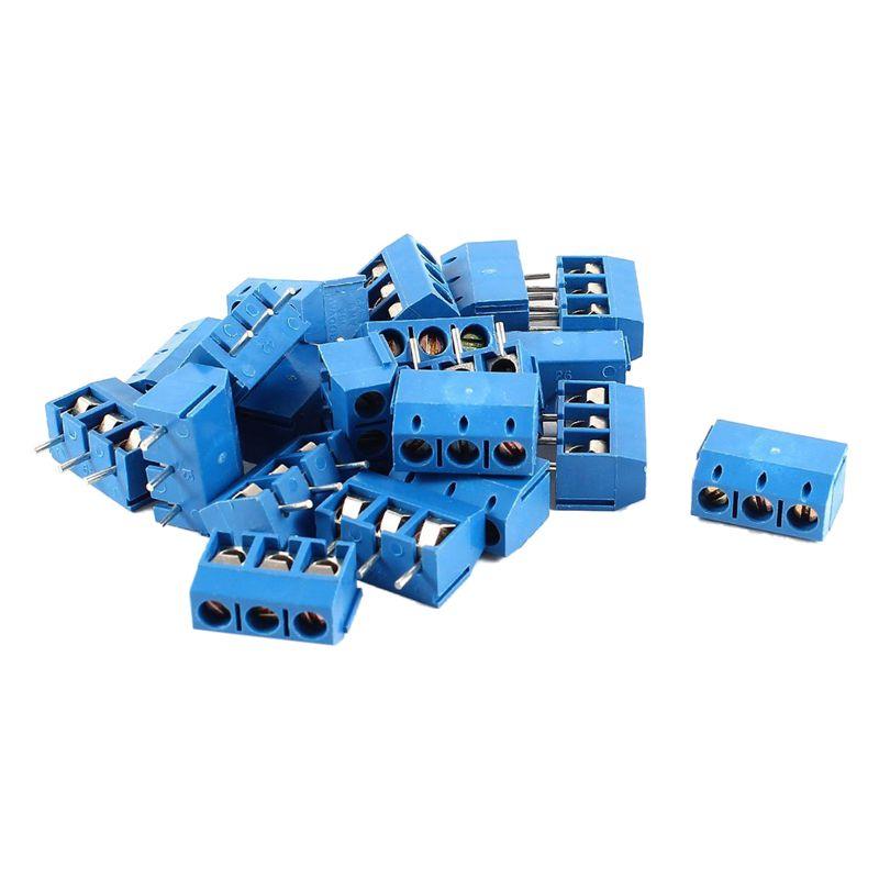20 stuks 3 pin 5mm pitch PCB Schroefklemmenblok 300 V 16A AWG14-22 blauw kleur