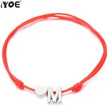 IYOE or argent couleur minuscule coeur initiales nom lettre Bracelet pour femmes hommes enfants tressé à la main rouge corde Bracelets Couple cadeaux bijoux homme