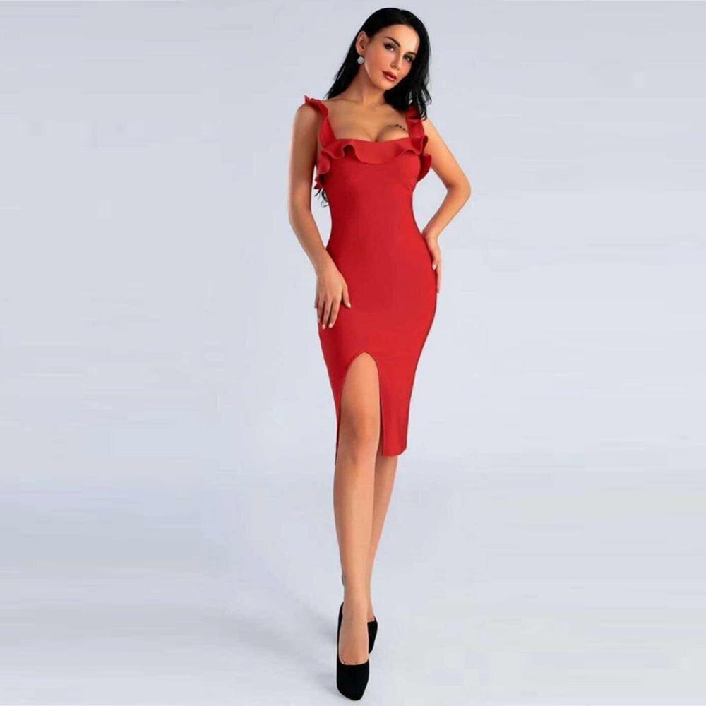 Deer Lady Ruffle vendaje vestido rayón 2019 verano rojo más el tamaño Bodycon vendaje vestido Sexy espagueti cuello en V Noche de celebridad club