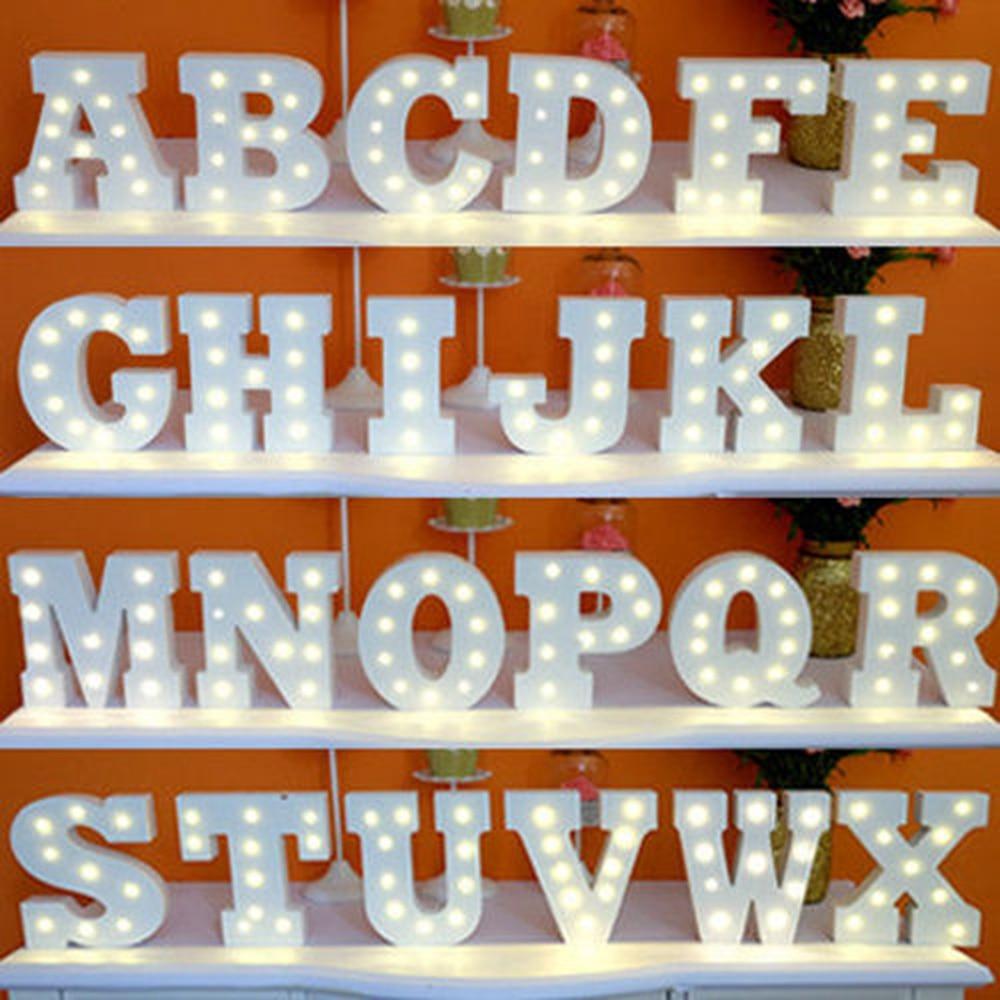 A-Z y blanco de madera luces con letras LED signo alfabeto luces de noche decoración de escritorio de pared interior artesanía para boda fiesta de cumpleaños BT-LL
