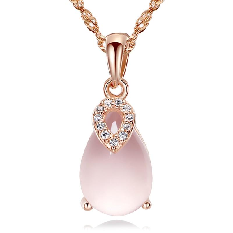 ¡Venta al por mayor! Collar de plata de ley 100% 925 con gema de ópalo rosa, joyería para mujer, cadena corta sin desvanecimiento, envío directo