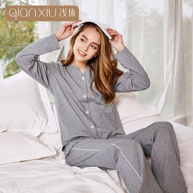 Conjunto de Pijama Nova Qianxiu Feminino Doce Rendas Emenda Cardigan Pijamas Algodão Casual Elasticidade Mulher Pijama Terno Femme