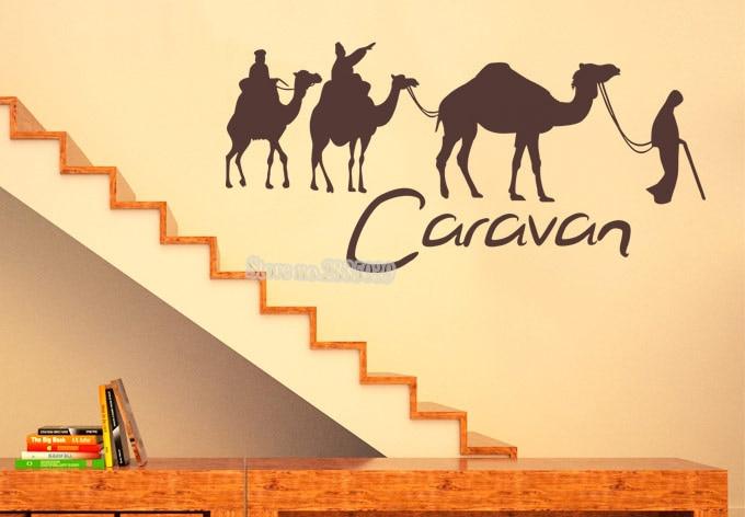 Gran caravana y camello pegatinas de pared papeles pintados pegatina de arte desmontable adhesivo vinilo agencia turística Mural decoración del hogar cartel LA429