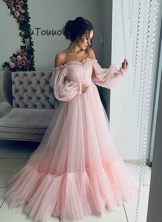 Розовые богемные платья для выпускного вечера с открытыми плечами и длинным рукавом, вечернее платье, светло-голубые платья для выпускного ...