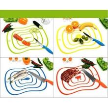 4 Pçs/lote Cepo Plástico Placa De Corte Da Cozinha Flexível Placa De Ensaio Não-slip Fosco Antibacteria Bloco De Corte