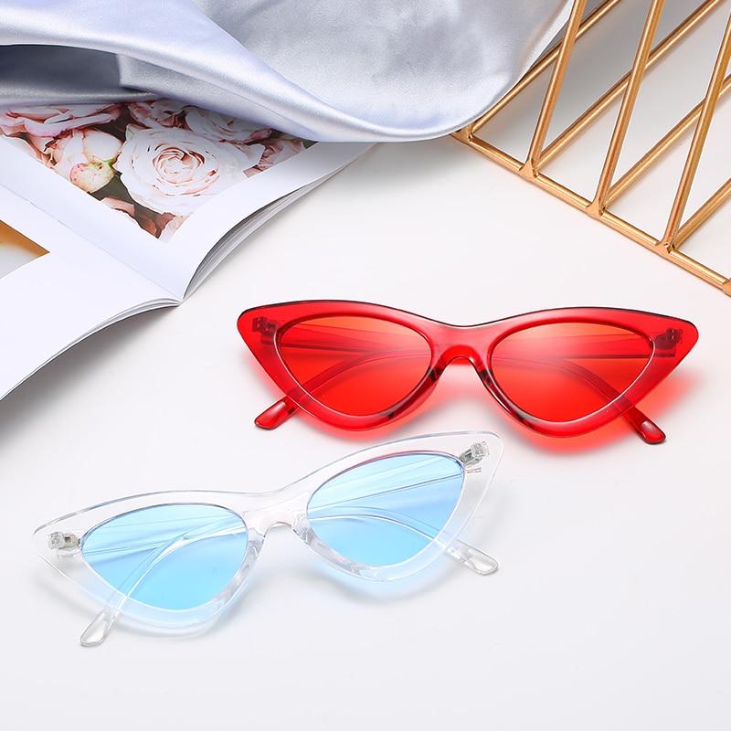 Kleine Katze Auge Sonnenbrille Frauen Getönt Farbe Mode Sonnenbrillen Marke Frau Transparent Rahmen Rot Blau Gelb Gläser Oculos Nette