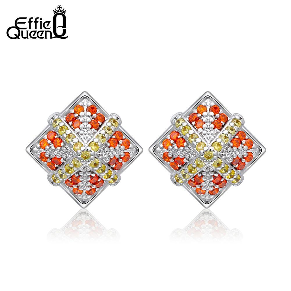 Effie Queen Vintage Women Earrings Red AAA Cubic Zircon Rhombus Square Small Stud Earing Female Jewelry Party Oorbellen DE236