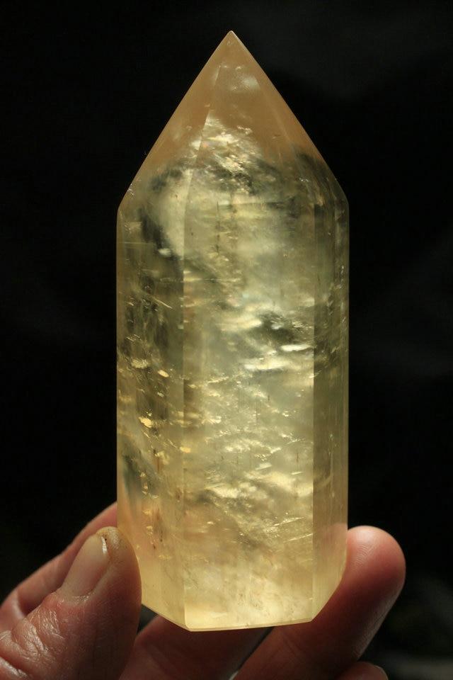 200-230g Large Yellow Honey Calcite Crystal Point Healing w Rainbow