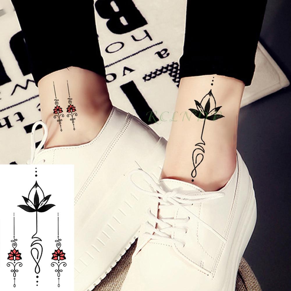 Pegatinas de tatuaje temporal a prueba de agua LÍNEA DE tótem de loto flor tatuaje falso tatuaje mano parte trasera del pie para chica mujeres hombres