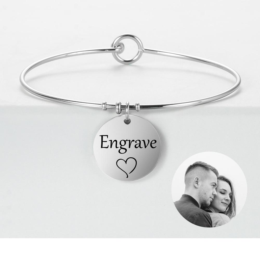 Foto personalizada, nombre, foto, brazalete grabado, pulsera personalizada de acero inoxidable y brazaletes, regalos de aniversario para mujeres, SL-109