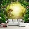 Grand papier peint Mural en tissu Non tissé personnalisé vigne maison champignon forêt décor de fond de salon papier peint Mural en rouleau