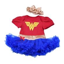 Baby Meisje Tutu Jurk set Cosplay Superheld Wonder Vrouw Superman Batman Kostuums met Hoofdband Baby Peuter Zomer Mini Jurk