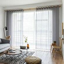 Gris/café solide Voile porte fenêtre rideaux drapé panneau transparent Tulle pour décor à la maison salon chambre cuisine