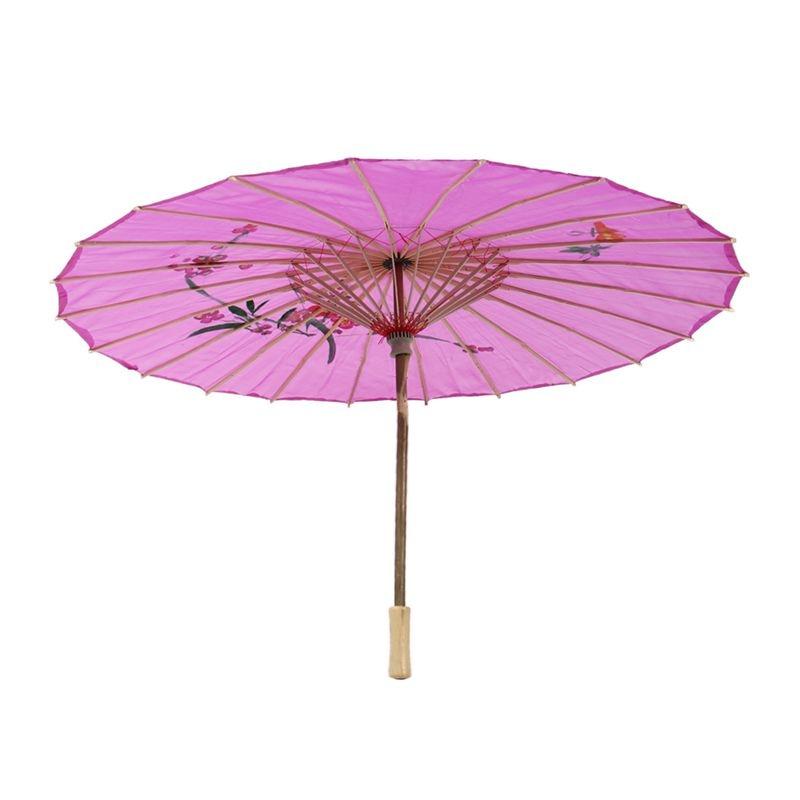 Paraguas púrpura nuevo estilo chino patrón de Orquídea tela de bambú danza Oriental