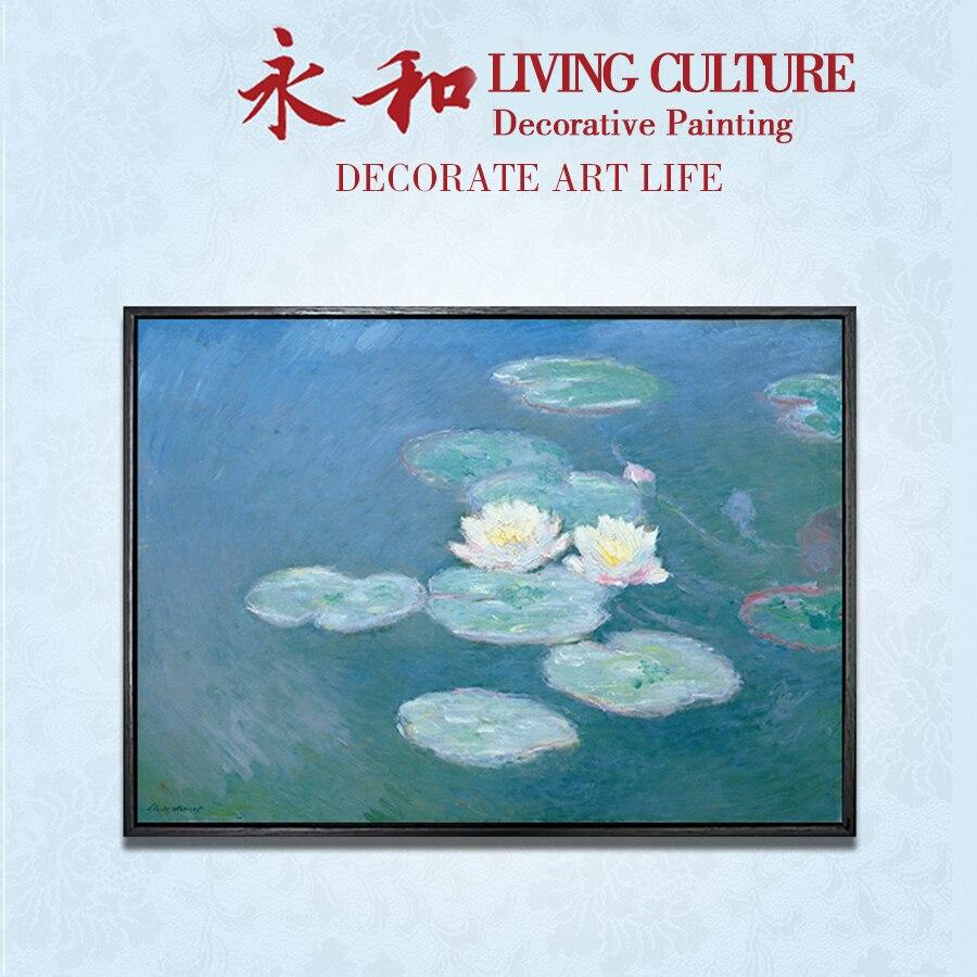 Pintura impresionista YongHe Claude monet-lotus water lily 09, pintura en aerosol personalizable, decoración de pared, cartel de tinta sin marco