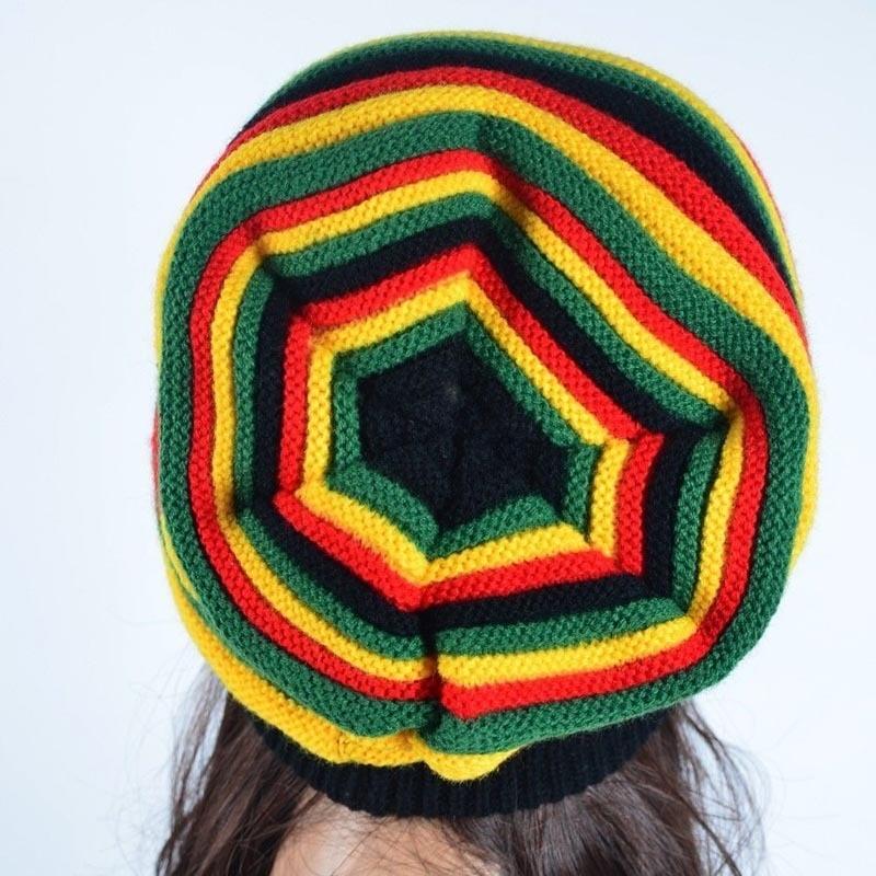 New Fashion Winter Hip Hop Hat Bob Marley Jamaican Rasta Reggae Multi-colour Striped Beanie Hats & Caps Men Beanies Ski Knit Hat
