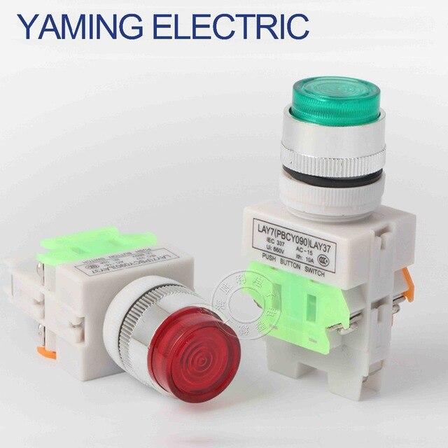 5 teile/los P90 Momentary kopf power schalter LAY37 push button switch mit LED-licht selbst-rückkehr LAY37-11DN (PBCY090) LAY37