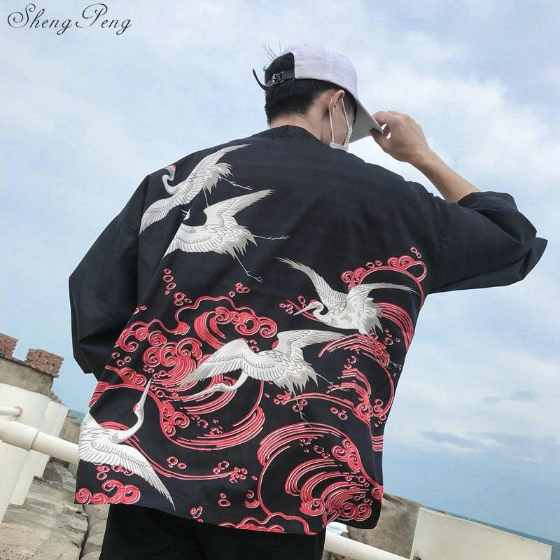 Kimono japonés tradicional de los hombres yukata hombre disfraz de samurai kimono japonés Guerrero Cosplay traje haori G005