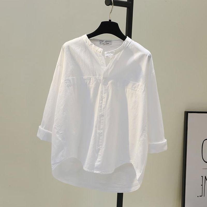 Frühling Korea Mode Frauen Shirts Plus Größe Langarm Lose Weißes Hemd All-abgestimmt Casual Tops Baumwolle Weibliche Bluse d124