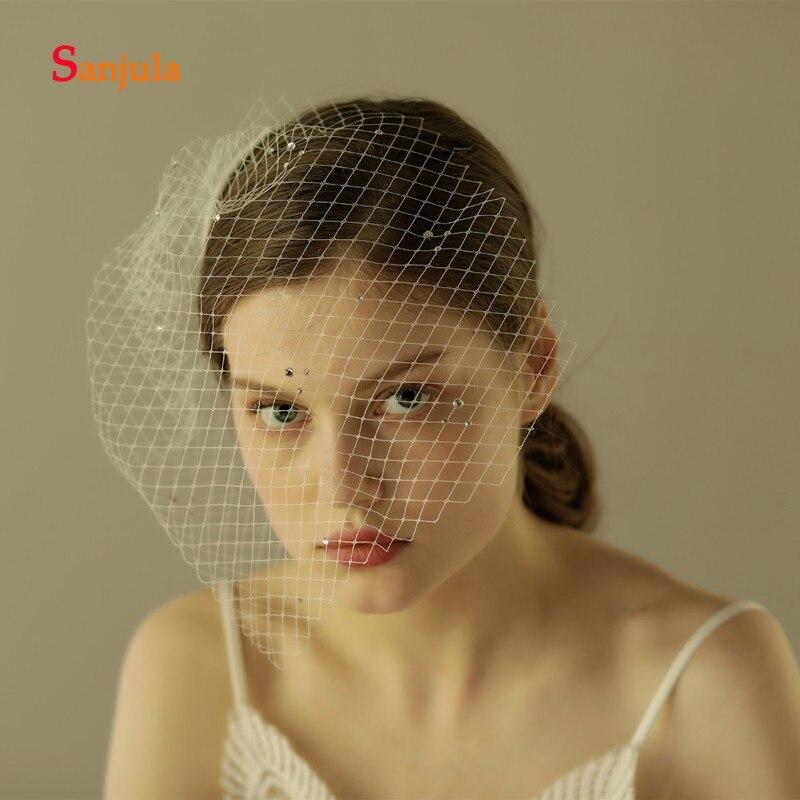 Velo nupcial blanco de tul duro de una capa con velos de boda cortos con cuentas velo de novia con peine accesorios de novia V66