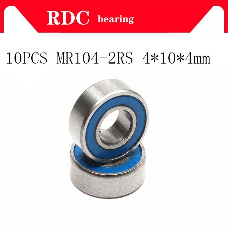 Roulement à billes miniature scellé en caoutchouc bleu   10 pièces, MR104 2RS MR104 RS MR104RS 4x10x4mm, haute qualité