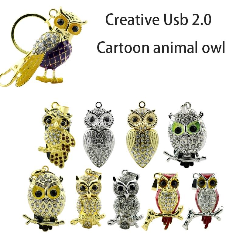 USB Flash Drive Diamond Metal Material Owl Necklace Cartoon Animal Keychain USB 2.0 Flash Drive U Disk 4GB 16GB 32GB Flash Drive