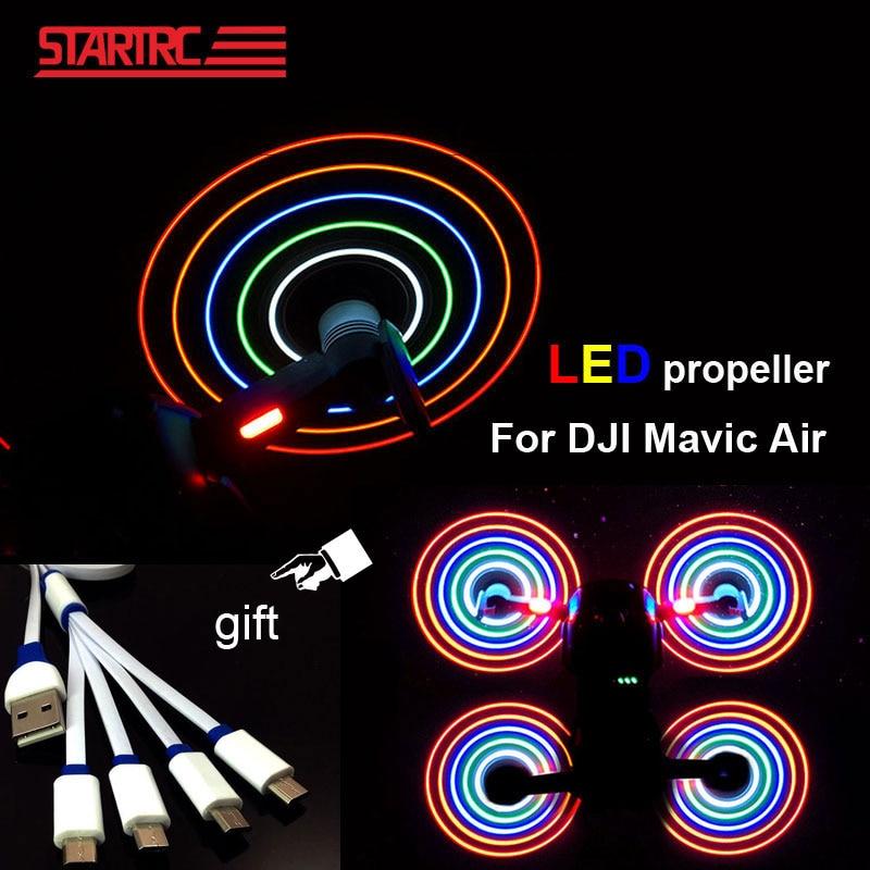 DJI Mavic hélices de aire LED Flash hélice con cable de carga USB fácil de montar seguro para DJI Mavic accesorios de drones de aire
