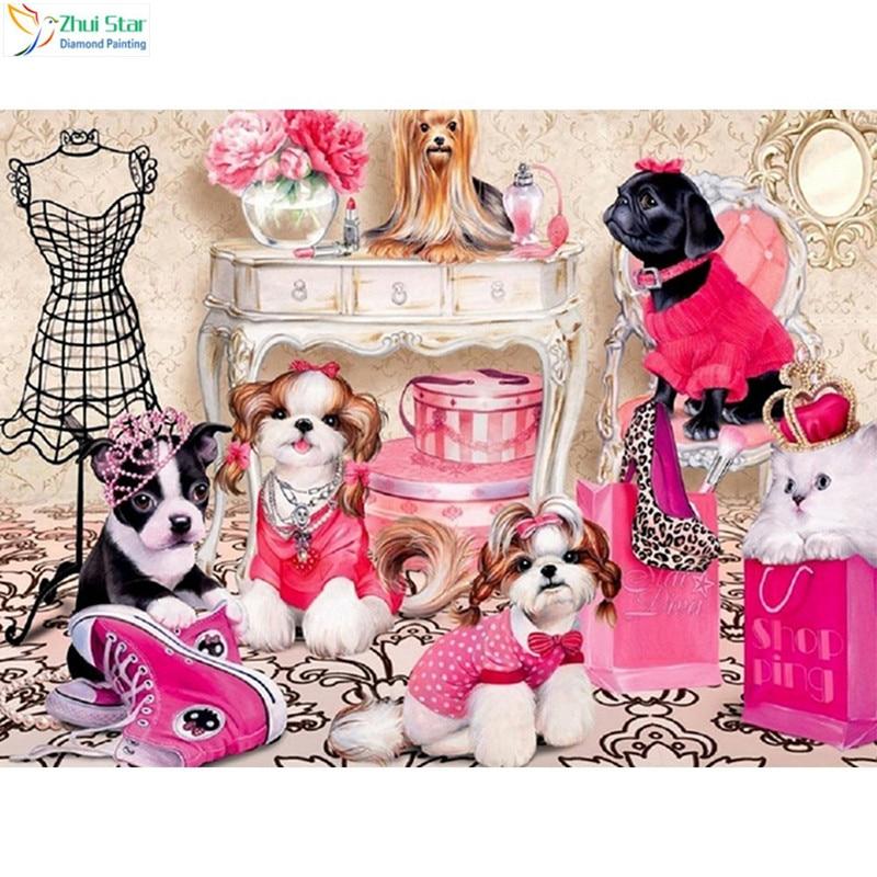 Diamond Painting Dog Diamond Embroidery Animal Rhinestone Diamond Painting Needlework Cartoon Home Decor XY1