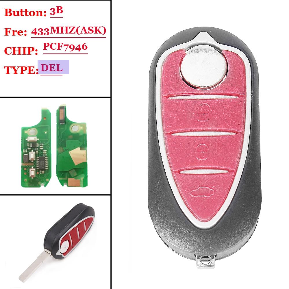 Frete grátis (1 peça) chave remota dobrável pcf7946 3, 433mhz, botão para alfa romeo 147 156 166 gt
