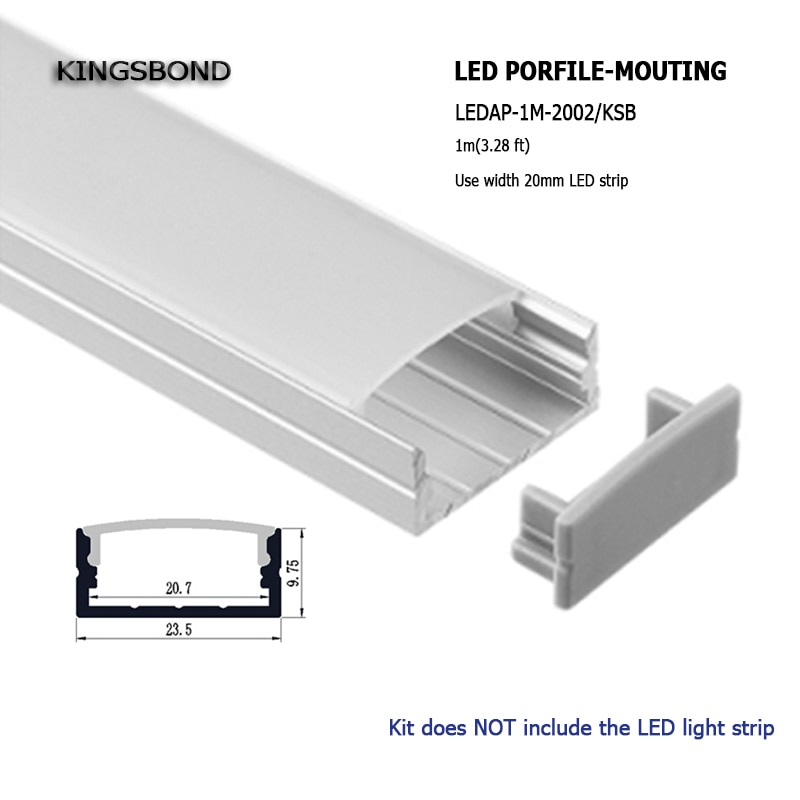 10 Uds. 1 metro 10mm profundo LED perfil de aluminio con brida para barra LED luz doble filas led ancho 15mm-20mm