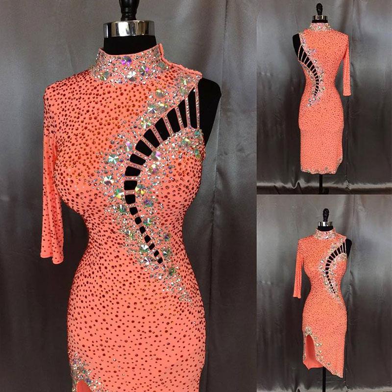 latin dance dress women High-Collar One side sleeve dance dress,Cha Cha Rumba Samba Tango Professional competition dance dress