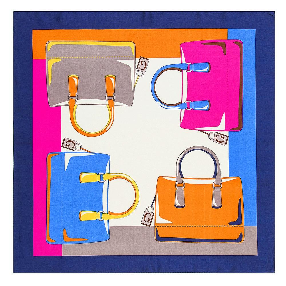 Luxury Brand Silk Scarf Women Fashion Colors Bags Print Square Scarves Small Neckerchief Luxury Brand Femme Foulard 60X60cm