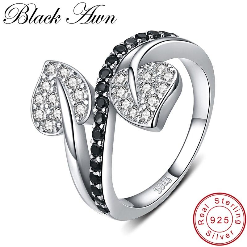 Женское свадебное кольцо с листком [BLACK AWN], Трендовое ювелирное изделие из стерлингового серебра 925 пробы, G088