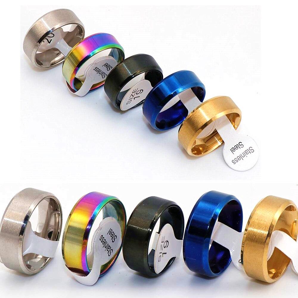 Anéis de Aço Anel de Casamento Dentro do Espelho Lote Estilo Clássico Corte Bisel Simples Inoxidável Banda 8mm Largura Polido 36 Pçs –