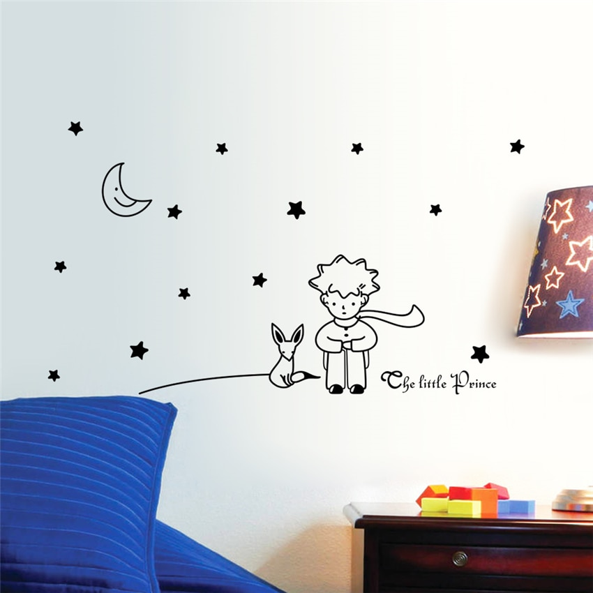 Księżyc gwiazdy naklejki ścienne Art Vinyl dla dzieci dla dzieci Beroom wystrój naklejki ścienne przedszkole dla dzieci pokój Cartoon śliczny salon naklejki ścienne U601