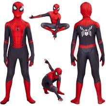 Niños Spider Man Lejos de Casa Peter Parker Cosplay Disfraz Zentai Spiderman Superhéroe Traje Monos Disfraz de Halloween