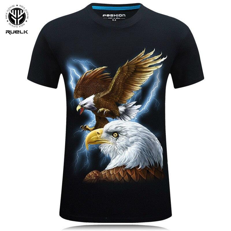 2019 ropa de marca de verano para hombres, camiseta de manga corta con cuello redondo, camiseta de águila dibujada Digital 3D para hombre, talla grande 5XL