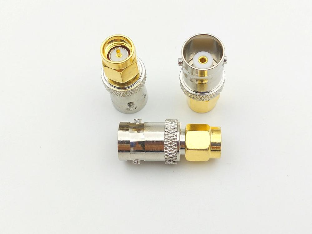 100 قطعة من النحاس BNC أنثى إلى SMA ذكر التوصيل اقناع RF هوائي محول