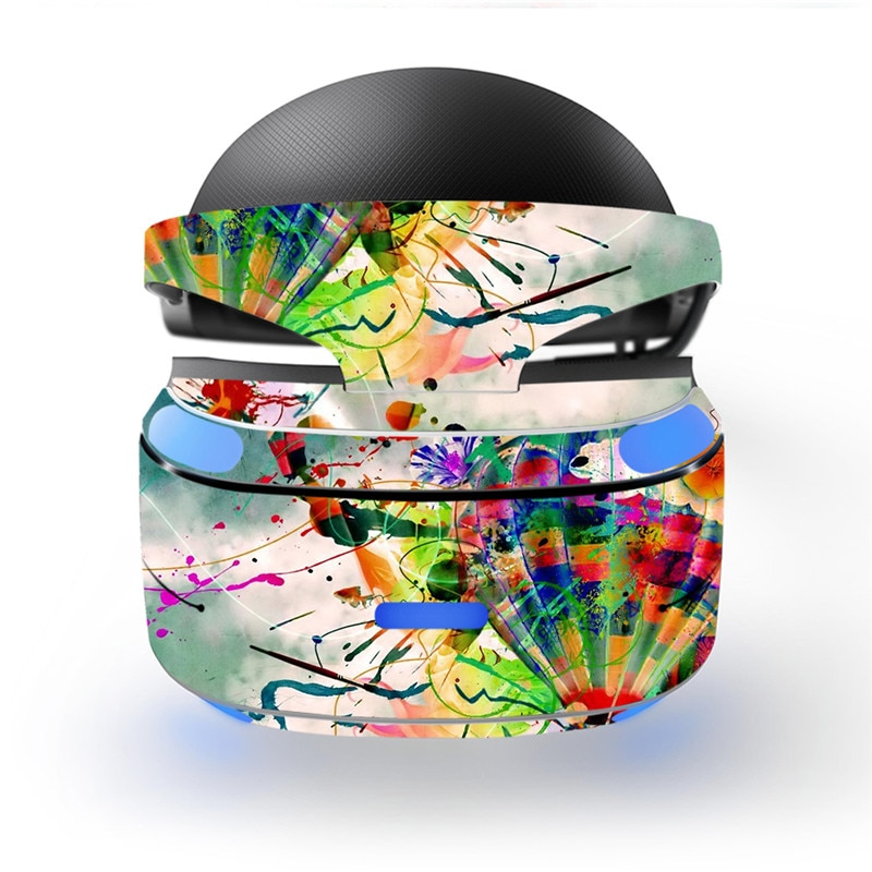 Fresco ventilador de pintura a óleo respingo-design de tinta decalque psvr adesivo de pele para sony playstation ps vr console capa protetora