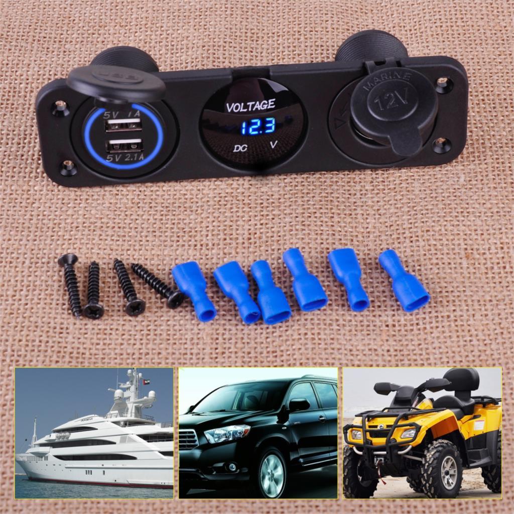 Citall Blauw Dual Usb Charger + Voltmeter + 12V Sigarettenaansteker + 3 Hole Panel Marine Led Voor auto Boot Motorfiets Utv Atv