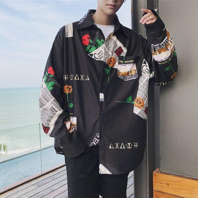Новинка 2020, рубашка с длинными рукавами и цветочным принтом, классический стиль, мужская Гавайская черная рубашка, свободные французские манжеты, брендовые модные трендовые рубашки, M-XL